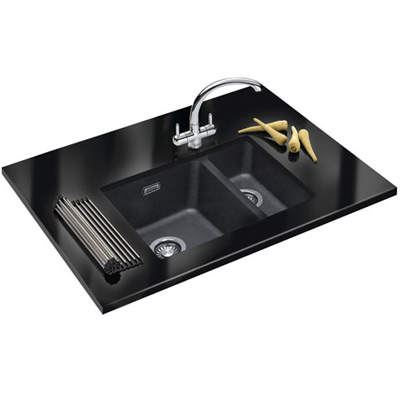 franke sirius sid 160 tectonite undermounted kitchen sink carbon black. Black Bedroom Furniture Sets. Home Design Ideas