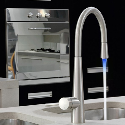 Monobloc With Pull Out Spray Multi LED Kitchen Tap Chrome 20579031