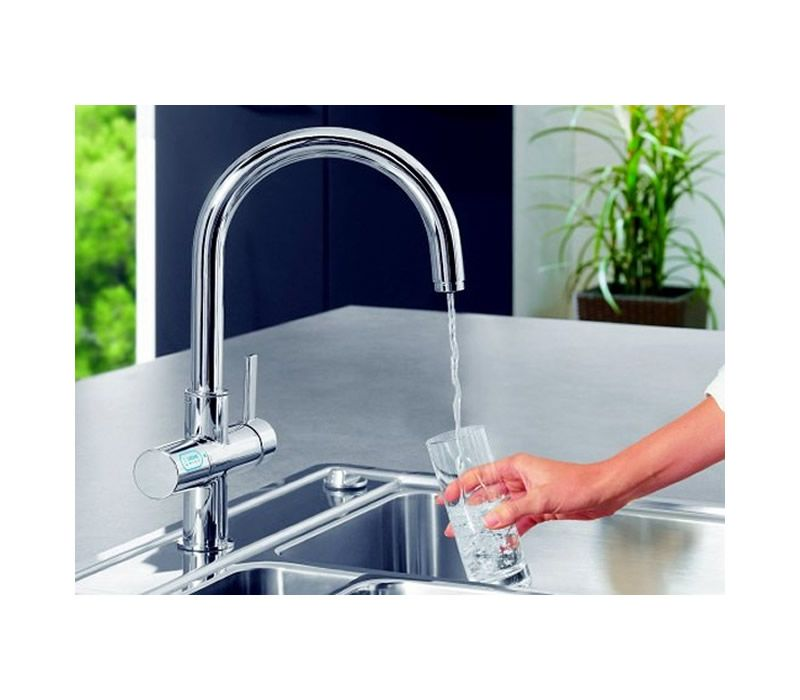 grohe blue mixer and cold filter tap with swivel c spout brushed steel 31087dc1. Black Bedroom Furniture Sets. Home Design Ideas