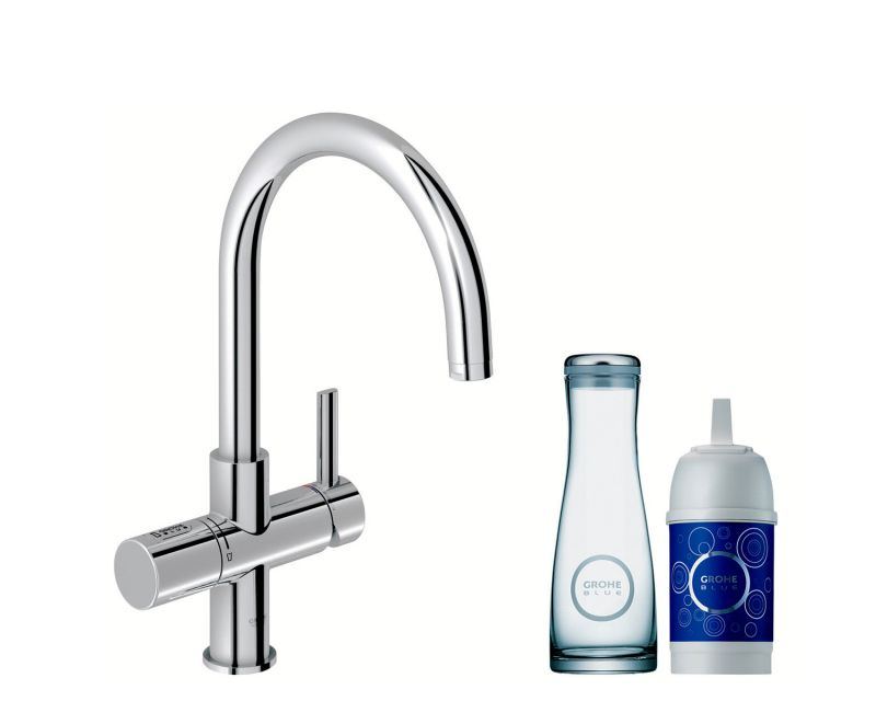 grohe blue mixer and cold filter tap with swivel c spout. Black Bedroom Furniture Sets. Home Design Ideas
