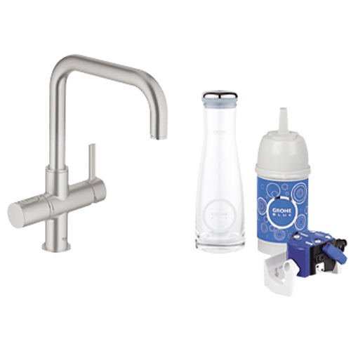 grohe blue pure starter kit swivel u spout supersteel 31338dco. Black Bedroom Furniture Sets. Home Design Ideas
