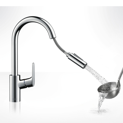 hansgrohe focus single lever kitchen pull out spray chrome 31815000. Black Bedroom Furniture Sets. Home Design Ideas