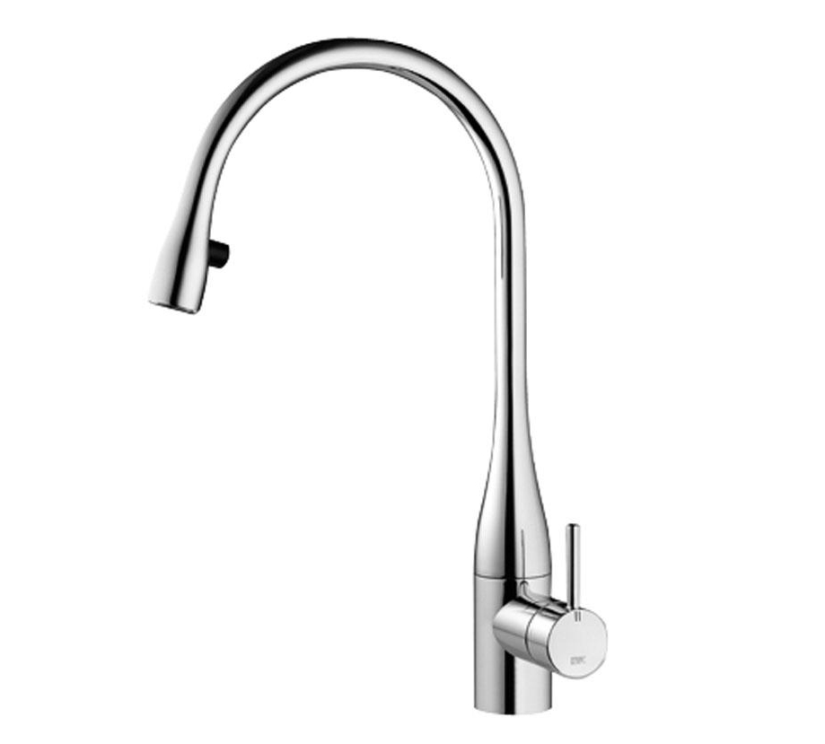 kwc kitchen tap with aerator and light stainless steel