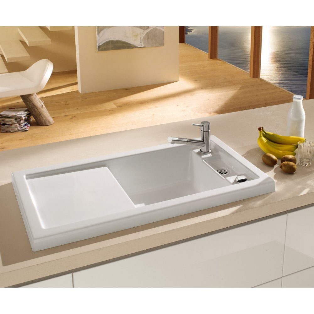 Villeroy boch metric art 60 single bowl ceramic kitchen sink villeroy boch metric art 60 single bowl ceramic kitchen sink drainer 6792 01 workwithnaturefo