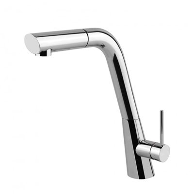 Gessi Ocean Monobloc With Pull Out Rinse Kitchen Tap Brushed Nickel